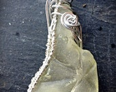 Scottish Seaglass - Sea Finds Pendant - OOAK - WIre Wrapped - Natural SeaGlass