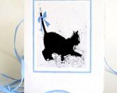 Black Cat - Note Card - Art Card  - Salem