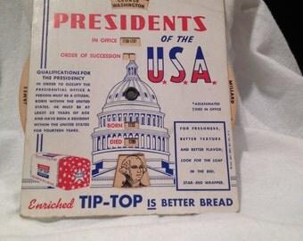 Presidential Memorabilia Tip-Top Bread Advertising Premium  Rare Beauty