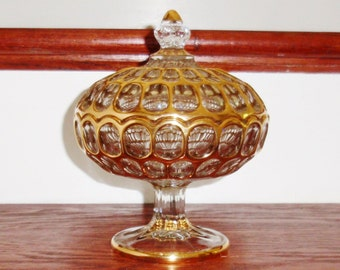 IMPERIAL GLASS BAKEWELL Argus Thumbprint Candy Bowl Footed Compote Crystal 22Kt Gold Trim Lidded Covered Rare Excellent Condition