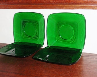 4 CHARM ANCHOR HOCKING Forest Green Square Saucers Cup Rings 1950 Crystal Fire King Glass Plates Four Set Excellent Condition
