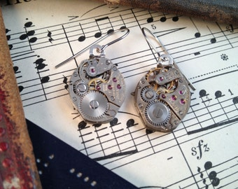 FIVE  PHOTOS!     Dazzled and bejeweled!  Add to your accessories with these antique watch movement earrings.