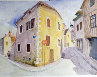 French Street Corner fine art print watercolor travel painting