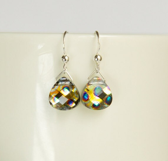 Dainty small sterling silver earrings with peacock multi-colored Swarovski crystals, small colorful Swarovski trendy ear-rings