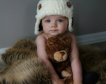 Crochet baby Hat Aviator Photo Prop Infant wood button fur Brown Hat Ivory Fur