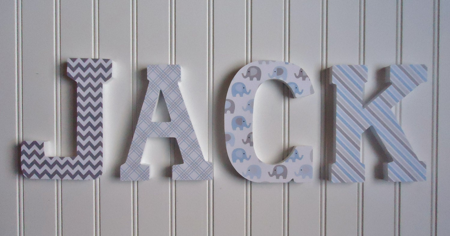 Wooden Wall Decor For Nursery : Wall letters nursery decor wooden custom name
