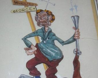 Vintage Hunting Caricature Art Seattle Wa 1977 Retro Cartoon Art