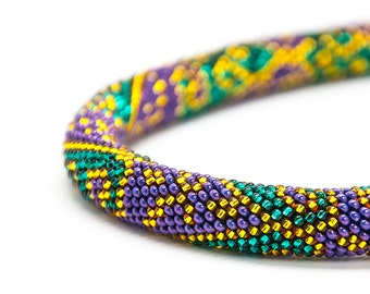 Peacock necklace bead crochet rope teal, gold and violet pattern, handmade