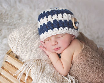 Newborn boy hat, baby boy hat, nautical hat, newborn boy photo prop, baby boy coming home outfit, newborn boy clothes, infant boy hat