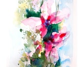 Abstract Flowers Fine Art Print of Original Watercolor Painting Abstract Flowers Pink Green 12.5x19''