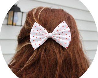 Evie Hair Bow - White with Red Hearts Pattern Hair Bow with Clip - Gifts for Girls, Teens, Women