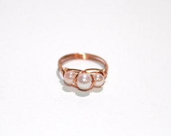 Pearl beaded ring in light peach and white, copper wire wrapped, any size