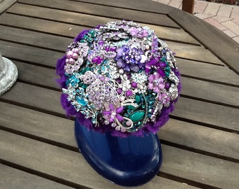 Brooch Bouquet of Purple, Aqua and Silver Rhinestone Brooches