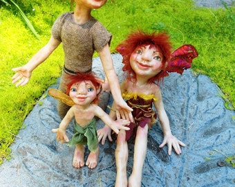 Garden Fairy Family Cinder, Spark, and Blaze HANDMADE Sprite Faerie Fairy Doll dolls