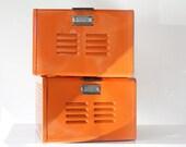 1950s Reclaimed Locker Basket in High Gloss Tangerine