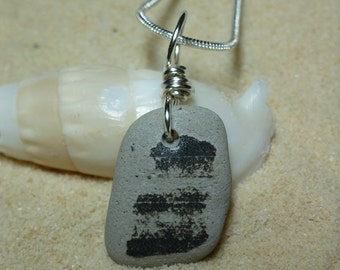 Black and grey beach pottery shard necklace with sterling silver chain