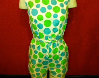1960s Polka Dot Gidget Pinup Playsuit