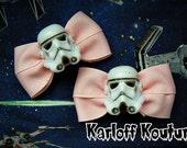Star Wars Stormtrooper Pink Hair Bows PAIR