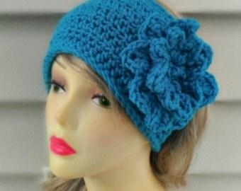 Crochet Headband, Knit Earwarmer, Flower Headband,  Crochet Hairband, Womens Accessories