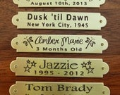 "Engraved Solid Brass Plate Picture Frame Art Label Name Tag 2"" x 3/8"" with Brad Nails"