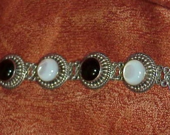 Ornate Sterling Bracelet Blister Pearl & Onyx Cabochons  Midcentury Jewelry