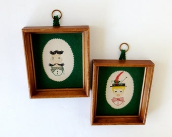 Hand Illustrated Framed Portraits / Victorian Couple / Signed by Artist / Mid Century Folk Art