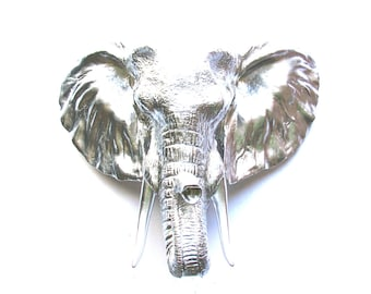 SILVER LARGE Faux Taxidermy Elephant Head wall mount wall decor: faux animal head wall hanging safari animal head silver animal head