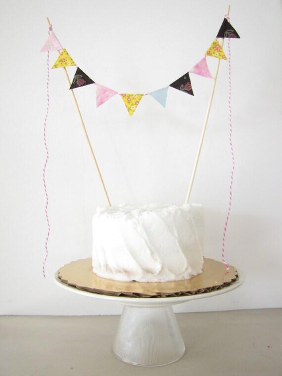 Birthday Cake Topper - Fabric Cake Bunting - Hippie Wedding, Birthday Party, Shower Decor, Groovy boho retro floral yellow brown pink tiedye
