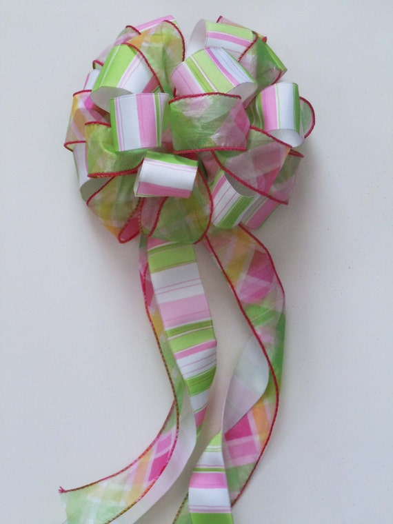 Pink Green Party  Pink Green Birthday Party Decor Baby Shower Gift Bow Wreath Bow Baby Packaging Gift Bow