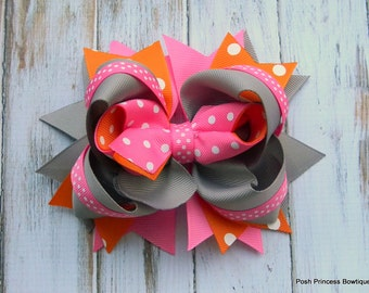 Girls hair bows Boutique hair bows hair bows hot pink orange grey polka dot hair bow stacked hair bow infants, toddlers, girls