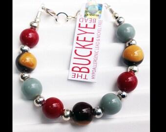 The Buckeye Bead Scarlet & Gray Bracelet OSU Buckeyes