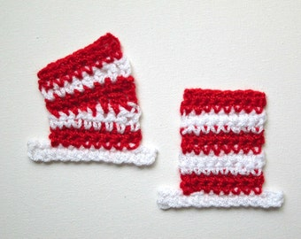 """1pc 3"""" Crochet STRIPED HAT Applique"""