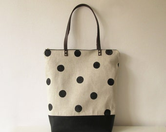 Raindrop print Tote bag Canvas and vegan leather Book bag
