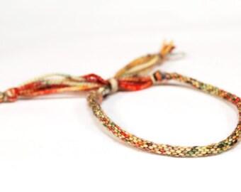 Kumihimo Bracelet Strawberry Fields Red & Yellow Merino Wool Soft Fiber Jewelry