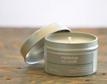 SALE - Mistletoe Soy Candle Tin 4 oz. - pine scent candle - berry scent candle - holiday candle - fall candle - winter candle