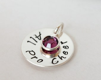 Cheer Charm - Hand Stamped Cheerleading Charm - Custom Cheer Coach Charm - Hand Stamped Sterling Silver