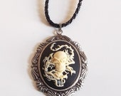 Dragon with Skull and Cross Bones  Necklace // Gothic Inspired SO NINJA TOUGH