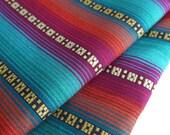 Aztec Fabric, Peruvian Fabric, Woven, Bright Purple Playa Stripes, 1 Yard