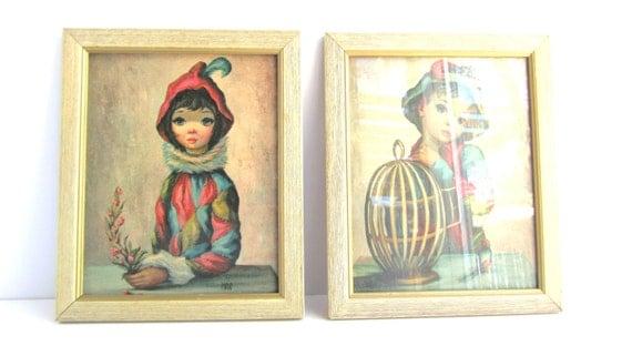 Vintage Maio Harlequin Prints. Mid Century Modern Framed Wall Art Harlequin Print Set.