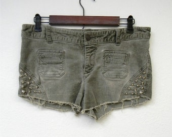 Studded 90s Distressed Green Faded Express Cut Off Corduroy Booty Shorts Summer Boho Festival