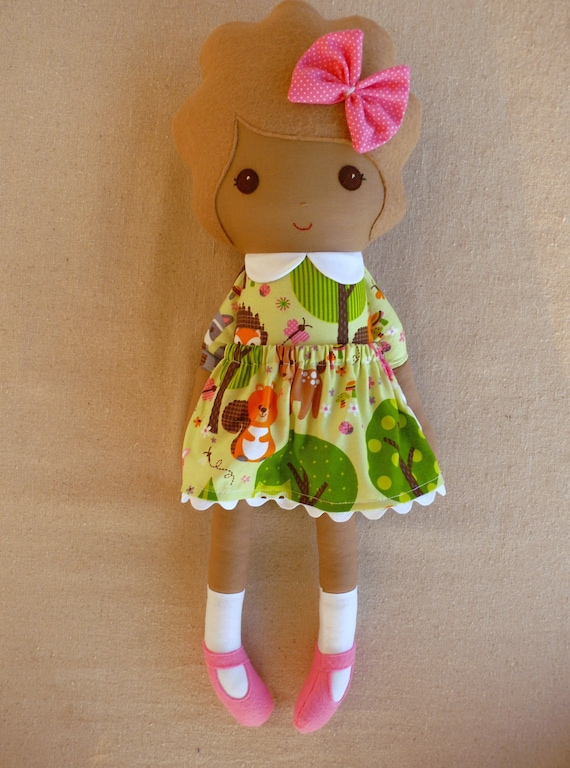 Reserved for Laura - Fabric Doll Rag Doll Girl in Green Forest Animal Print Dress