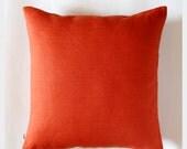 Orange pillow - decorative pillows -  throw pillow - linen pillow cover for home decor  0045