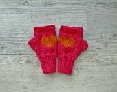 knit mittens fingerless heart gloves raspberry pink mustard Pauliszka knits - PauliszkaKnits
