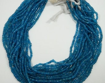 Hawaiian Ocean Blue Apatite Hand Faceted Rondelle Beads Strand 2mm - 3mm