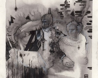 Gothic drawing - black and white drawing - horror imagery - Forced Matrimony Bureaucracy - original drawing - scandinavian art