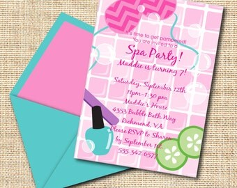 INSTANT DOWNLOAD, Birthday Spa Girl, Pink, Turq, Lime, Printable 5 x 7 Invitation, You Edit Yourself in Adobe Reader