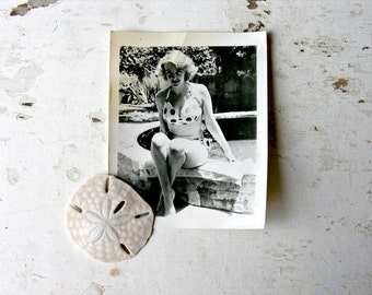 Marilyn Monroe Lookalike Vintage Busty Blonde Beauty Pin Up Girl Photo Polka Dot Bikini Bra Summertime Beach