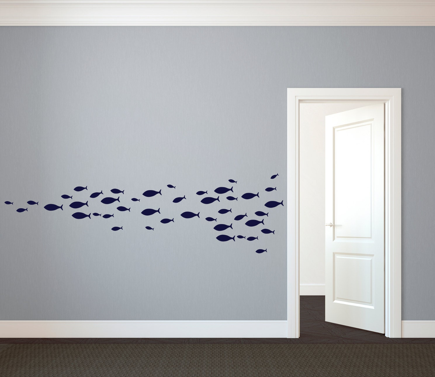 School Of Simple Fish Wall Decal Custom Vinyl Art Stickers