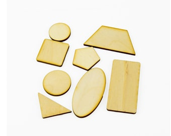 54 x Wooden Crafts/ Geometrical Shapes/ Laser Cut/ Beads/ Unfinished/ Supplies/ Craft Project
