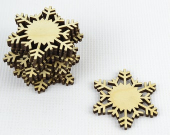 Set of 12x Christmas Wooden Snowflake Ornaments / Decor / Embellishments